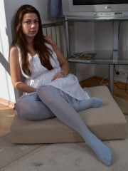 Pretty Blue pantyhose Make Edica's unshaven Pussy Wet
