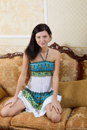 Fur covered Babe Efina Slowly peels off off Tribal Dress