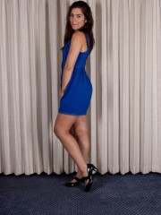 Felix is Modeling her Blue Dress and bushy Pussy
