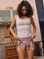 Handsome Lara jacks in the Kitchen
