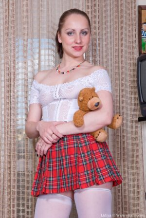 Peak up pallid Lidiya's brief Tartan Skirt