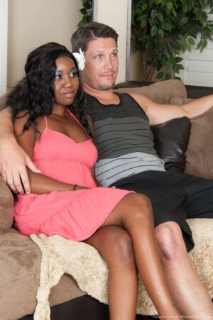 Unkempt black Girl Nina Devon plumbs a White Guy