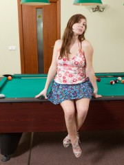 Silviya Plays Pool with her fur covered Pussy