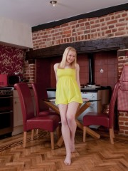 Remarkable untrimmed Blonde Tegan Jane in the Kitchen