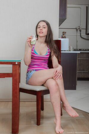 Canella strips naked after a glass of milk