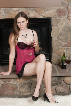 Drinking beverage, Camille strips and shows her hot body