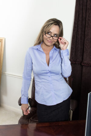 Glasses and sexy smarts with sexy Sarah Michaels