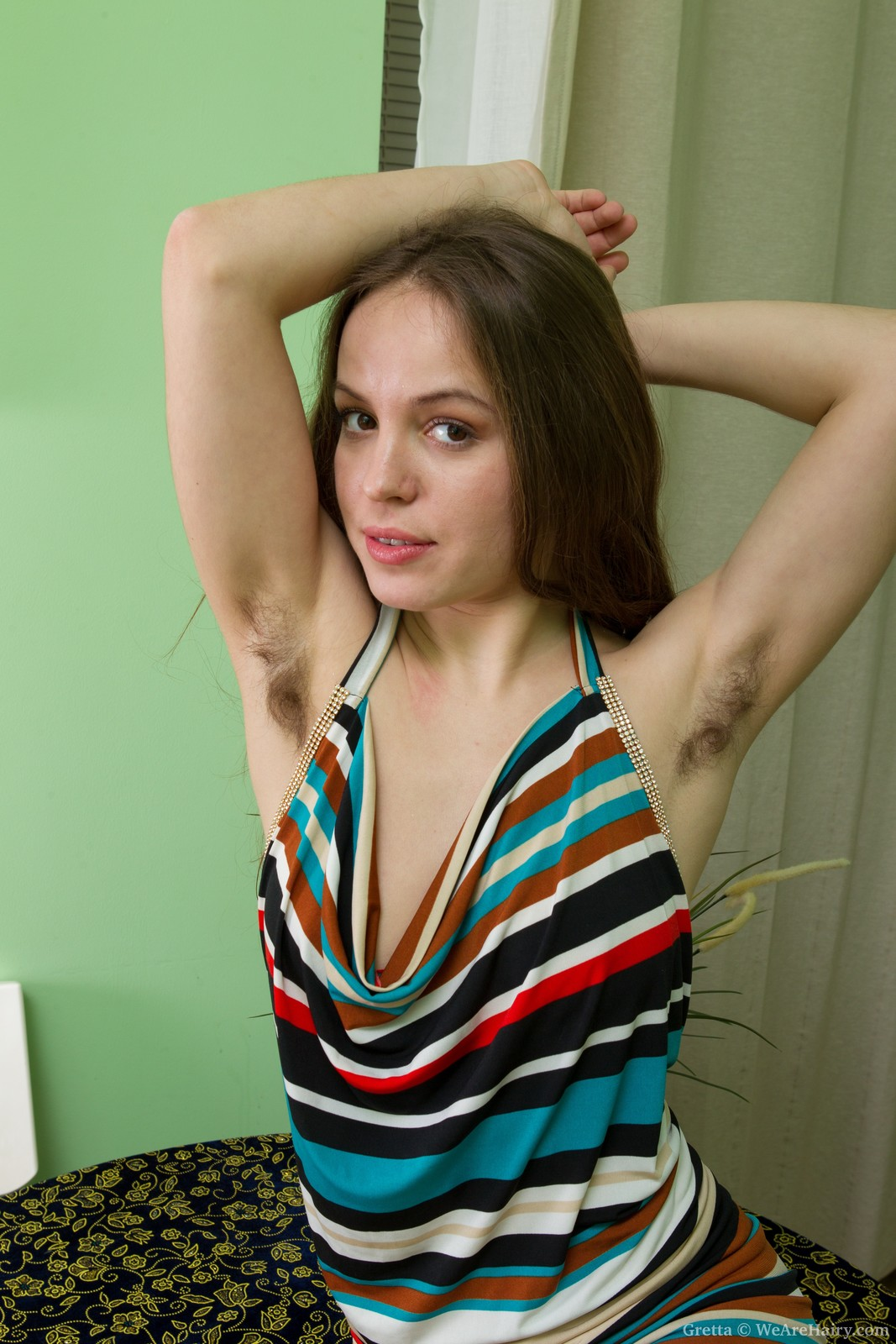 Grettas hirsute body and the striped dress - Shes Hairy
