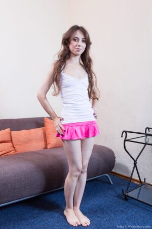 Hairy girl Erika shows off her young body
